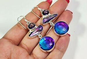 Bi Color Tourmaline Purple Biwa Amethyst Gemstone Jewelry Silver Earring E-689