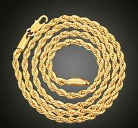 "18K Gold Plated Stainless Steel 4mm Gold Rope Chain 18"" 20"" 22"" 24"" 26"" 28"""