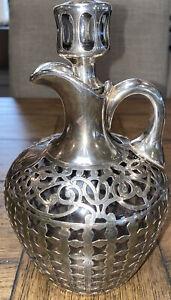 1800's Gorham DECANT Antique Wine Brandy Jug Sterling Silver Overlay Hallmarks