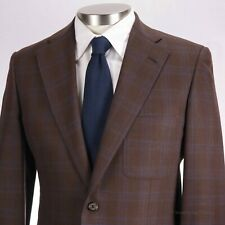 GIAN DeCARO SARTORIA Custom ~38-40~ Brown Blue Check Scabal Wool Sport Coat