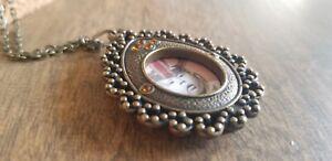 Photo locket pendant necklace bronze antique style