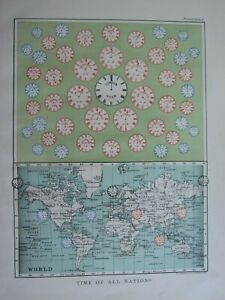 1913 MAP THE WORLD TIME OF ALL NATIONS EUROPE ASIA NORTH AMERICA FRONTISPIECE