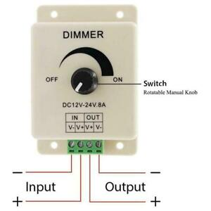 12V 24V LED Strip Light Dimmer Switch 8A Voltage Regulator Adjustable G3J2