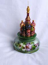 Spieluhr, Musikbox  Kathedrale St. Basil Moskau, Zhostovo Art, grün - NEU