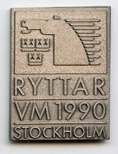 EQUESTRIAN World Championship 1990 Stockholm horse medal