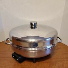 """Farberware Electric 12"""" Stainless Skillet Fry Pan w Dome Lid Model 344A Made USA"""
