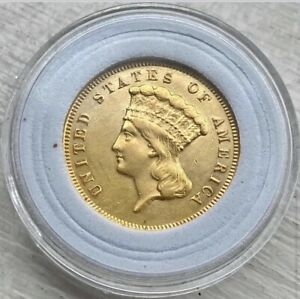 1874 $3 Princess Gold Great Details Cleaned