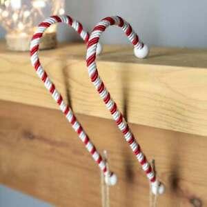 2 x Christmas Candy Cane Stocking Hanger Holder Xmas Decoration Mantle Piece