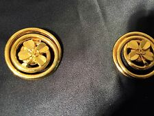 AUTHENTIC CHANEL VINTAGE CLIP ON EARRINGS GOLD PLATED WITH CC LOGO MINT