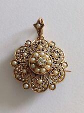 Fine Attractive Victorian 15ct Gold Natural Seed Pearl & Diamond Pendant Brooch