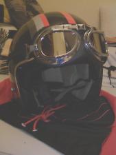 Black open face classic retro motorcycle helmet Adult M