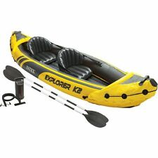 Inflatable Kayak 2 Person Light Aluminum Oars Handles Free Pump Patch Kit Valve