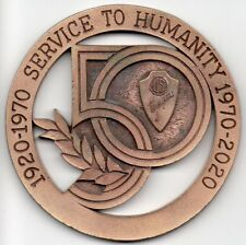 "Vintage 1970 Jaycees 50th Anniversary 3"" Medal - Service to Humanity"