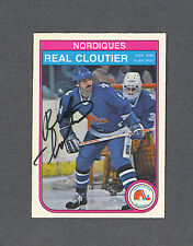 Real Cloutier signed Nordiques 1982-83 Opee Chee hockey card