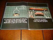 1982 TOYOTA SUPRA  ***ORIGINAL 2 PAGE AD***