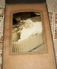 Baby & Wicker Buggy Antique Photograph Cabinet Card Photo Carriage