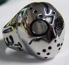 JASON MONSTER DEATH MASK STAINLESS STEEL RING size 9 silver metal S-531 biker