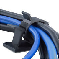 10x Black Cable Wire Cord Lead Drop Clips Usb Charger Holder Tidy Desk Organise