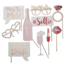 10 Pcs Wedding Bachelorette Photo Booth Props Rose Gold Team Bride Hen Party Set