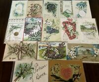 Pretty Lot of 15 Vintage Greetings Postcards w. Lily of the Valley Flowers-b15