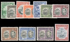 GRENADA 1938 GEORGE VI PERF 12½ SET MNH #132-42 10sh perf. 14, $72.50