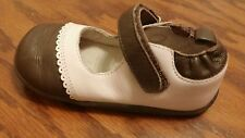 Robeez Tredz infant girls mary jane pink brown shoes size 16 20 months