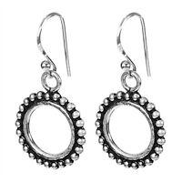 925 Solid Silver Jewelry oxidized round Dangle earrings handmade jewelry