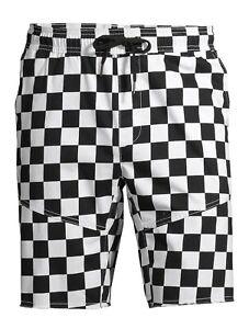 Checker Knit Woven Jogger Shorts Black & White Racing Checkerboard Men's