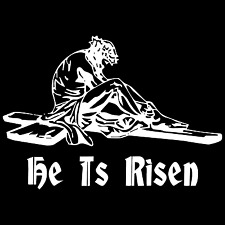 "Large 14"" He Is Risen Jesus Christian God Car Truck Window Vinyl Decal Sticker."