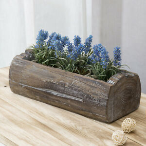 MyGift Reclaimed Solid Wood Log Style Brown Rectangular Planter Pot Container