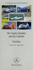 1295MB Mercedes Preisliste 2001 6.8.01 Coupes Roadster Cabriolet CL SL CLK SLK