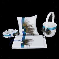 Peacock Feather Wedding Set Guest Book Pen Ring Pillow Flower Girl Basket Garter