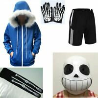 Undertale Hoodie Sans Papyrus Coat Teens Cosplay Costume Zipper Jacket Top Mask