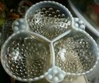 Vintage FENTON frosted hobnail clear glass bowl 3 sections for candy nuts