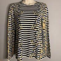 J McLaughlin Navy Striped Equestrian Belts Sweater Shirt  Long Sleeve Sz S