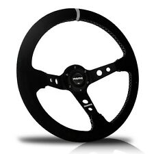 BRAND NEW 350MM Deep Dish Genuine Suede Leather Sport Racing Steering Wheel