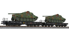 Liliput 230144  2 Hvy Flat Cars with Camo Tanks WWII German - HO Scale