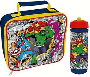 AVENGERS COMIC CHILDS SCHOOL BOYS INSULATED WIPE CLEAN LUNCH BOX BAG BOTTLE