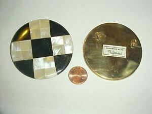 VINTAGE GENUINE MOTHER OF PEARL HORN CHECKER MOSAIC DECO 63mm. ROUND PENDANT V27