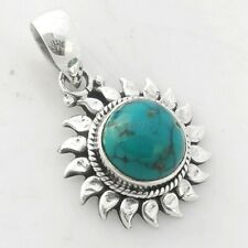"""Solid 925 Sterling Silver Turquoise Sun flower Pendant Jewelry S 1"""""""