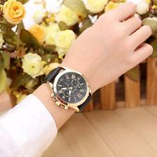 Unisex Womens Geneva Watch Stainless Steel Leather Analog Quartz Wrist Watches P