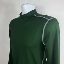Under Armour Mens Large Cold Gear Mock Neck Green Athletic Compression Shirt