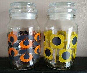 Orla Kiely 2 Limited Edition Glass Douwe Egberts Coffee Storage Jars