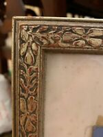 "Rare Antique Silver Leaf Arts Crafts Carved Picture Frame ONLY 24"" X 19"" Opening"
