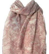 Pink Floral Scarf Ladies Flowers Wrap Womens Pretty Sketched Flower Print Shawl
