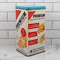 Nabisco Premium Saltine Crackers Tin 1969 14 oz Advertising Square Canister