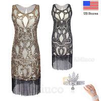 1920s Flapper Dress Gatsby Charleston Retro Art Deco Sequin Fringe Party Dresses