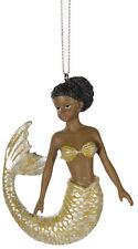 African American Mermaid Christmas/ Everyday Ornament (Yellow)