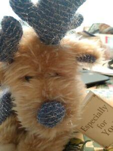 "Dandee Dog Plush 7"" Christmas Blue Glitter Antlers Scarf Puppy Stuffed Animal..."