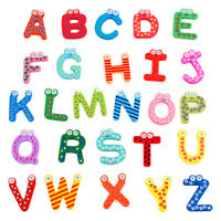 26X Baby Letters Kids Wooden Alphabet Fridge Magnet Child Educational Toy S**